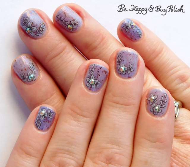 flower manicure with Heather's Hues Lucy Polish Pickup Pack February 2019 thermal nail polish | Be Happy And Buy Polish