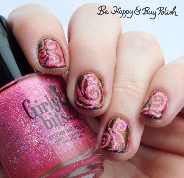 Girly Bits Cosmetics Hot Stuff, Night Owl Lacquer Love Is Powerful Magic swirly manicure | Be Happy And Buy Polish