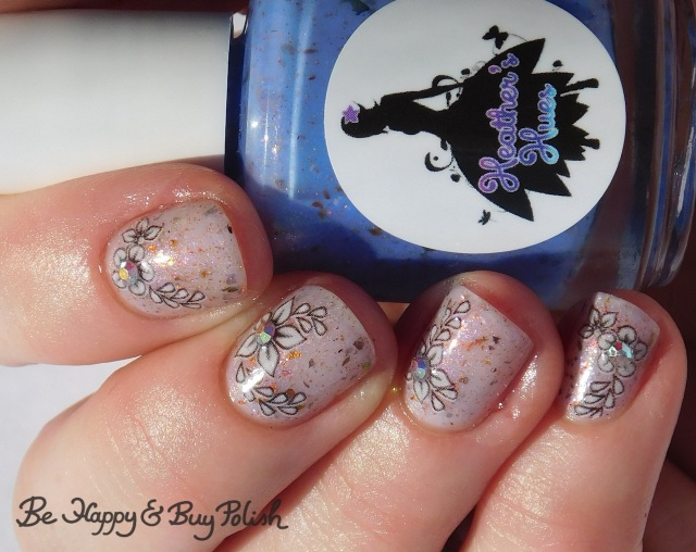 Heather's Hues Lucy Polish Pickup Pack February 2019 flower manicure with nail decals and gems | Be Happy And Buy Polish