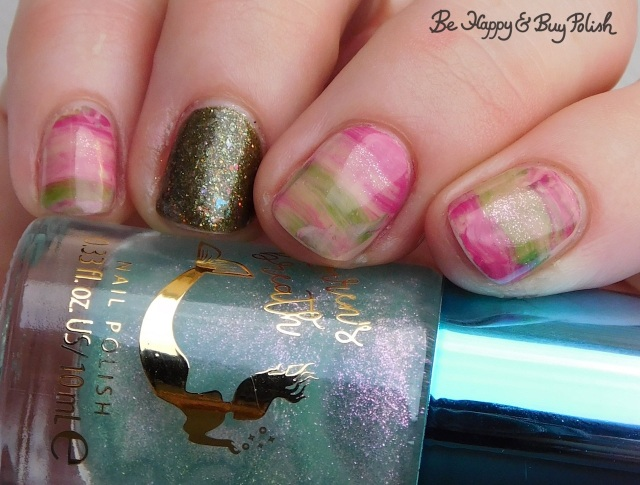 Hot Topic Siren's Breath Green Pink Sparkle, Polish 'M Children of the Corn Maze, L.A. Colors Nude Trend Innocence, L.A. Colors Brights Fresh and Punchy striped skittlette manicure | Be Happy And Buy Polish