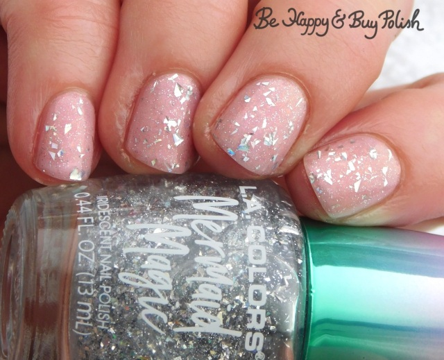 L.A. Colors Shimmer Mist, Necessary Evil Polish Norepinephrine glitter manicure | Be Happy And Buy Polish