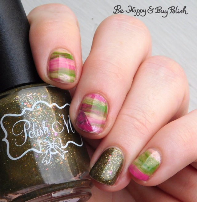 Polish 'M Children of the Corn Maze, L.A. Colors Nude Trend Innocence, L.A. Colors Brights Fresh and Punchy, Hot Topic Siren's Breath Green Pink Sparkle striped skittlette manicure | Be Happy And Buy Polish
