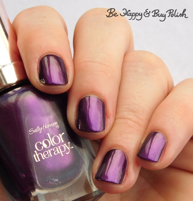 Sally Hansen Color Therapy Plum Euphoria over black | Be Happy And Buy Polish