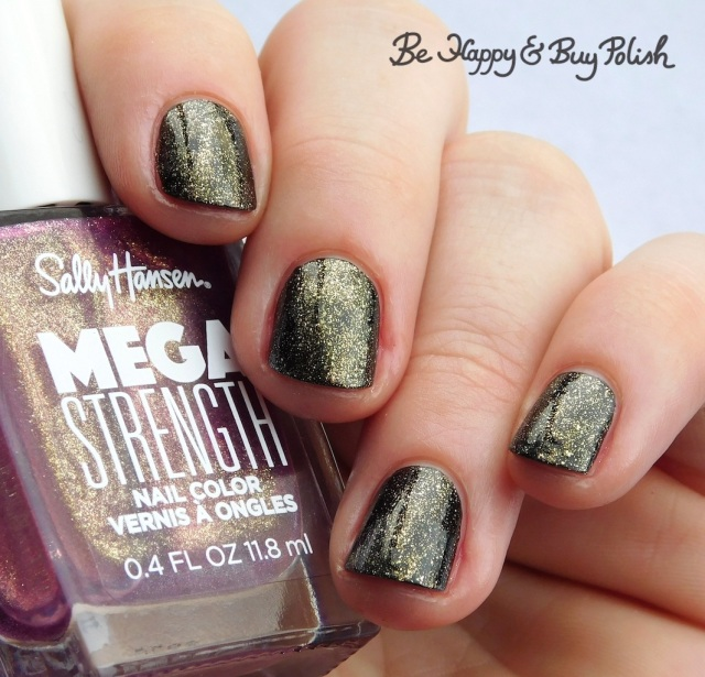 Sally Hansen Mega Strength Small But Mighty over black | Be Happy And Buy Polish