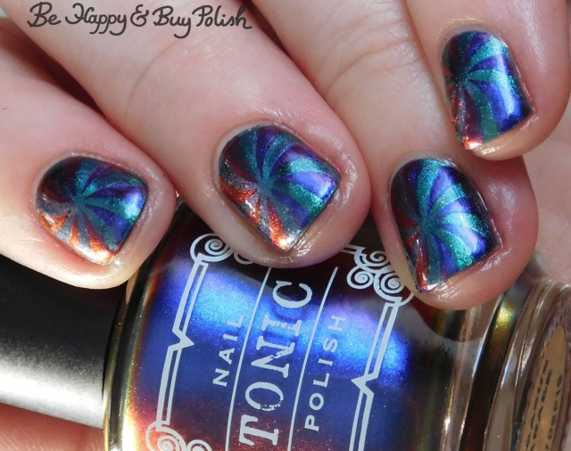 Tonic Polish Pegasus Parade, Quixotic Polish Libelulle pinwheel manicure close up | Be Happy And Buy Polish