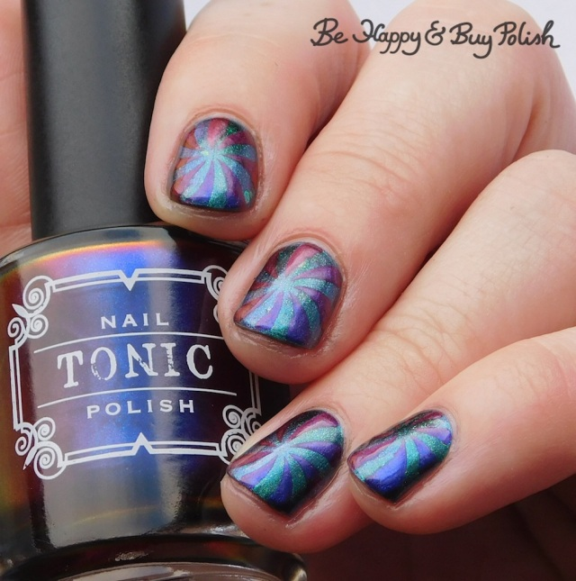 Tonic Polish Pegasus Parade, Quixotic Polish Libelulle pinwheel manicure | Be Happy And Buy Polish