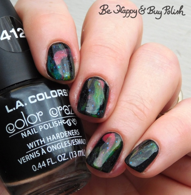 L.A. Colors Brights Tart, Juicy, Fresh, Mellow, Necessary Evil Polish Poltergeist Shart string painting nail art manicure | Be Happy And Buy Polish