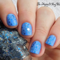 Hot Topic Blackheart Beauty Navy Glitter Stargazer, Purple Stargazer, Star Blue Silver Meteor Shower nail polish swatches + review