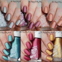 Sally Hansen Insta Dri Matte nail polishes swatches + review
